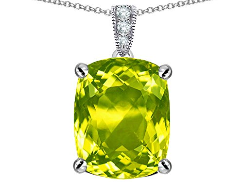 (Star K Large 12x10mm Cushion Cut Simulated Peridot and Cubic Zirconia Pendant Necklace Sterling Silver)