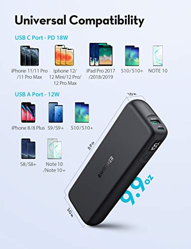 USB C Power Bank 15000mAh Fast Charging Slim Portable Charger18W PD3.0 RAVPower Power Delivery Battery Pack with Digital Display for iPhone 12 Pro Max,iPad Pro Galaxy S21,Google Pixel LG and More