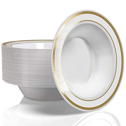 50 Plastic Bowls Set - Service for 50 Disposable 12 Ounce Bowls for Weddings, Parties, Catering and Everyday Use (Gold Rim)