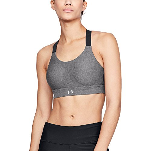 (Under Armour Women's Vanish High Heathered Bra, Charcoal Fade Heathe (019)/Reflective, 34C)