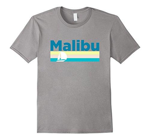 Mens Malibu Retro Sail Boat   California T Shirt Large Slate