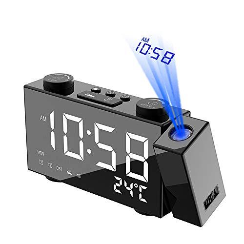Galapara Despertador Proyector, LCD Radiocontrol inalámbrico Estación meteorológica Multifuncional Reloj, Reloj Proyección Digital con Alarmas Dobles, ...