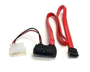 StarTech.com Right Angle Slimline SATA Female to SATA w/ LP4 Power Cable - Cable SAS (1x Slimline SATA, 1x SATA Data/1x LP4, Rojo)