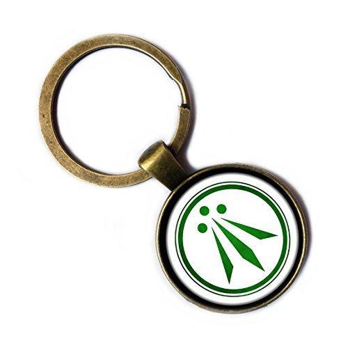 Celtic Symbol - The Awen Three Rays of Light - Green on White Bronze Keychain Keyring