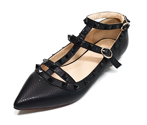 Guoar Womens Sexy Rivets Stud Buckle Two-Straps Shallow Mouth Pointed Toe Flat Pump Shoes Black-litchi Patent Leather mg5oa5vSk