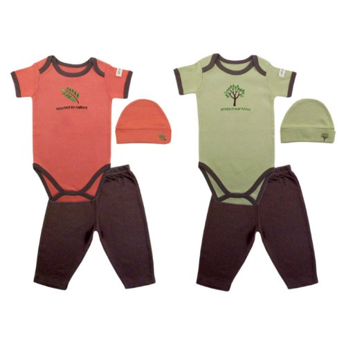 Hudson Baby Organic Touched By Nature Neutral Designs Set, Coral-Leaf