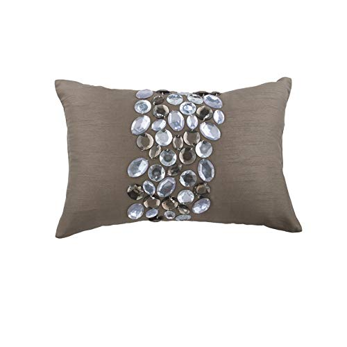 The HomeCentric Luxury Grey Lumbar Pillow Cover, Crystals Bling Sparkly Pillows Cover, 12x18 inch (30x45 cm) Lumbar Pillow Cover, Rectangle Silk Lumbar Pillow Cover, Modern Lumbar - Crystal Delight