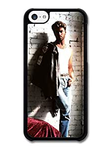 MMZ DIY PHONE CASEAMAF ? Accessories George Michael Posing on a Wall with Leather Jacket Portrait case for iphone 4/4s
