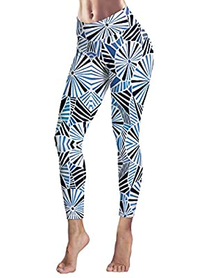 Women's Capris Printed Custom Leggings Geometric Umbrella Pattern High Waist Yoga Running Workout Pants