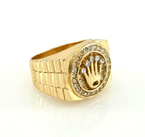 Hip-Hop Gold Tone King Crown Ring size 12 (Iced Out Brass Knuckles)