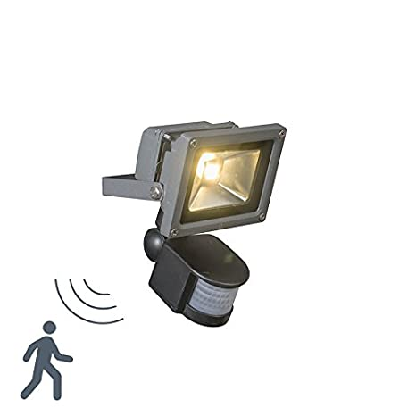 QAZQA Industrial,Moderno Proyector LED KICK 10W con detector movimiento grafito Aluminio,Vidrio,