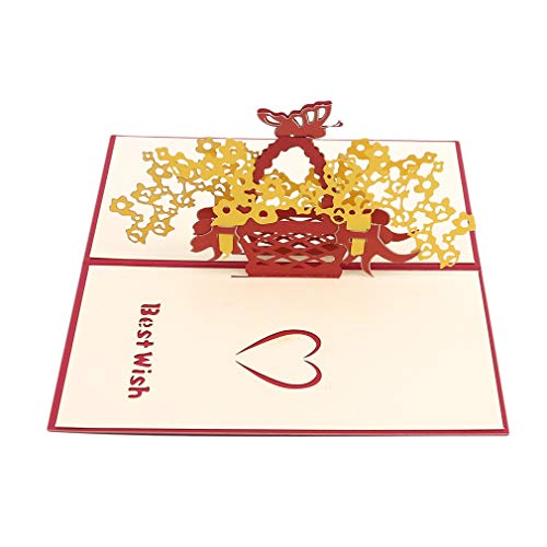 (Iumer 1 PC Greeting Cards Specialty Paper 3D Butterfly Swan Rose Flower Basket Pop Up Red Envelopes DIY Postcards Birthday Anniversary Invitation Card,Butterfly basket)