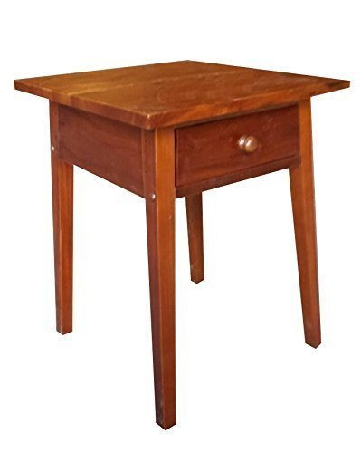 Urnporium Wood End Table with Drawer End Table Drawer, Solid Mahogany by Urnporium