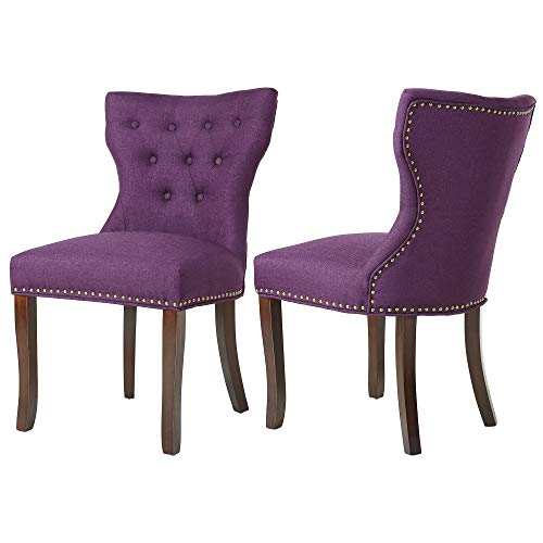DAGONHIL Fabric Dining/Accent Chairs (Set of 2) with Brown Solid Wooden Legs,Nailed Trim, (Purple)