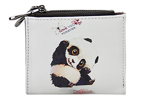 Women Girl Cute PU Leather Fold Mini Wallet Purse Card Case Holder (Panda)