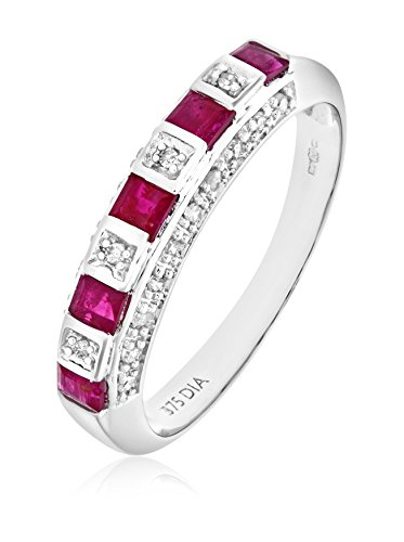 Revoni - Bague Éternité en or blanc 9 carats, rubis et diamants