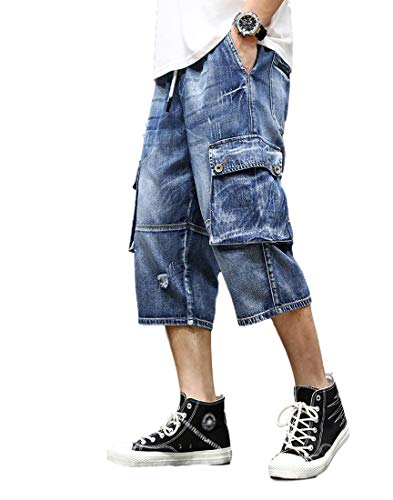 Idopy Men`s Cargo Denim Biker Jeans Shorts with Zippers (W34, 1540 Blue)