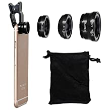 Universal 3 in 1 Cell Phone Camera Lens Kit 180 degree Clip Fish Eye + Wide Angle + Macro Lens Clip Camera Photo Kit For iPhone 6S 6 5S and All Other Smartphones (Black)