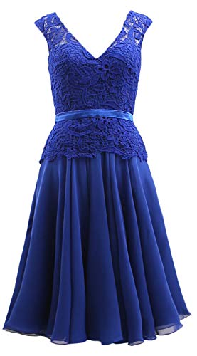 The Bride of Chiffon Women Blue Mother MACloth Gown Lace V Midi Royal Neck Formal Dress UpnCqS