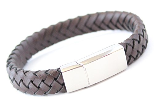 Bluerock Bay MONZA Mens Brown Leather Personalised Bracelet - Any engraving...