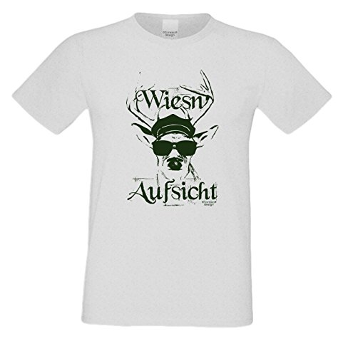 Wiesn T-Shirt - Wiesn Aufsicht Trachten Hirsch grün Shirt Farbe grau - lustiges Funshirt ideal für's Oktoberfest statt Lederhose und Dirndl