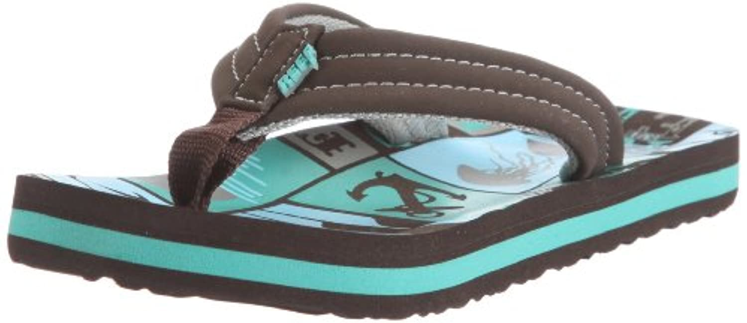 Reef AHI Kids Junior Flip Flops Sandals (C2/3, SKI Shaka Jelli)