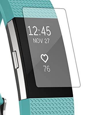 Fitbit Charge 2 Screen Protector [Diamond Tough Film-Sparkles like Glitter] [3 Pack]