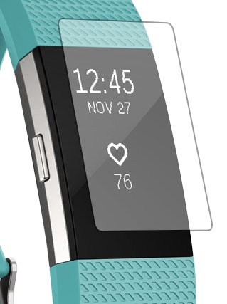 Fitbit Charge 2 Screen Protector [Diamond Tough Film-Sparkles like Glitter] [3 Pack] (Protec Protector)