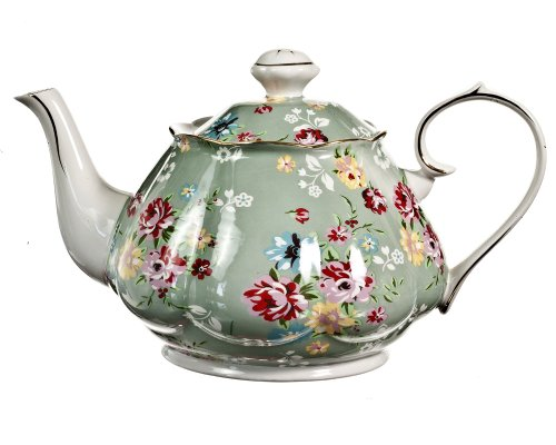 Gracie China Shabby Rose Porcelain 4-1/2-Cup Teapot, Shabby