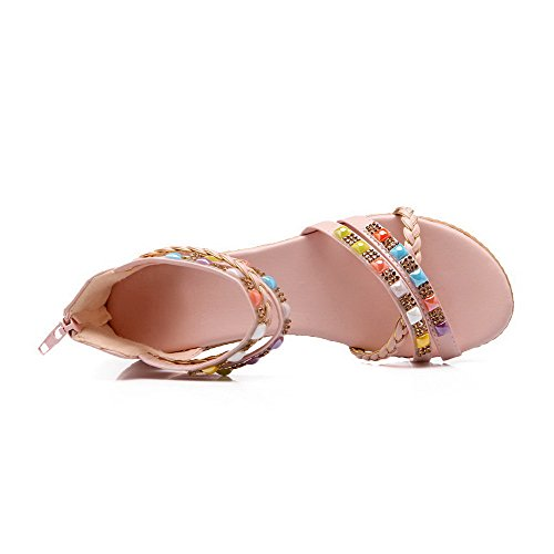 AalarDom Womens Zipper Open-Toe Low-Heels Pu Solid Sandals Pink h93gSEv