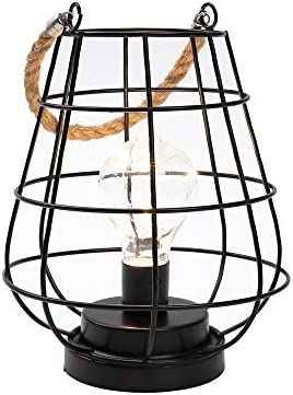 JHY DESIGN 8.5 Cage Bulb Lantern Decorative Lamp Battery Powered Cordless Accent Light with Warm White Fairy Lights LED Edison Bulb Lamp for Living Room Bedroom Kitchen Wedding Christmas Black