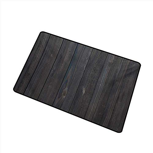 (Diycon Outdoor Doormat Dark Grey Wood Fence Texture Image Rough Rustic Weathered Surface Timber Oak Planks W35 xL59 Country Home Decor)