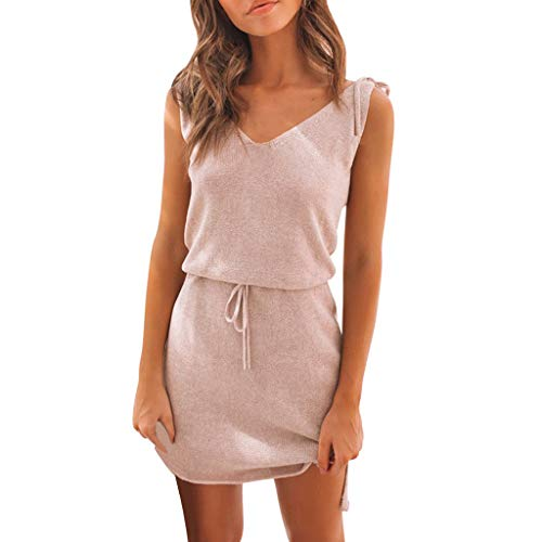 (Women V Neck Mini Backless Sleeveless Evening Party Dress Laced Irregular Dress Loose Casual Solid Sleeveless Dress Pink)