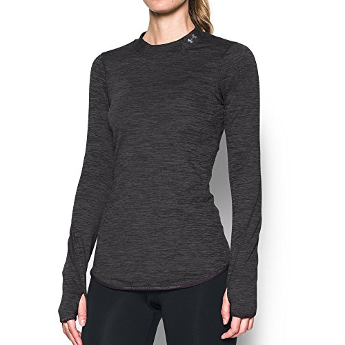 Under Armour Women's ColdGear Armour Fitted Mock Neck,Carbon Heather /Metallic Silver, Medium