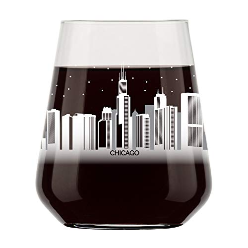 Chicago Skyline Stemless Wine Glass- Cool Chi-Town Souvenir or gift for traveler- Nostalgic Chicago Cityscape Souvenirs- Dishwasher Safe, Non-Toxic, Organic Ink Printed in USA (Chicago Wine Glass)
