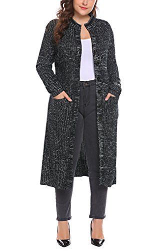 Zeagoo Womens Plus Size Classic Button Down Knit Long Cardigan Sweater Coat With Pocket (16W-24W)