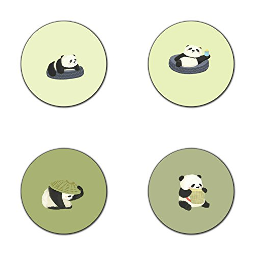 (Newing Panda and Tires Pattern Round Coaster Set - Made of Recycled Rubber - Set of 4)