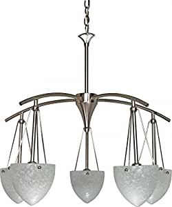 Nuvo 60/130 5 Light Chandelier with South Beach Water Spot Glass