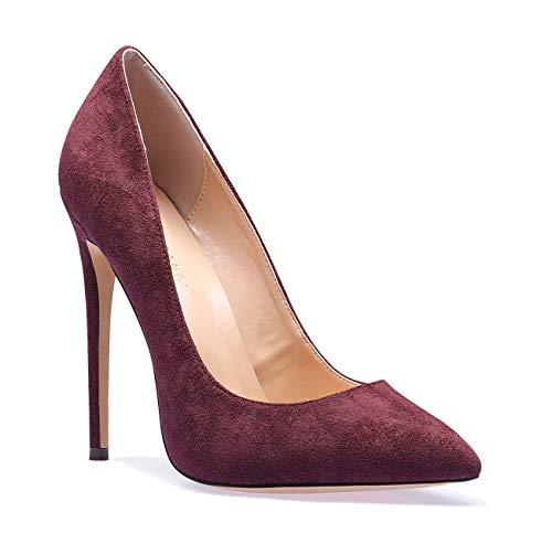 (SUNETEDANCE Women's Slip-on Pumps High Heels Pointy Toe Sexy Elegant Stiletto Heels 12CM Heel Shoes Suede Wine Pump 7.5 M US)
