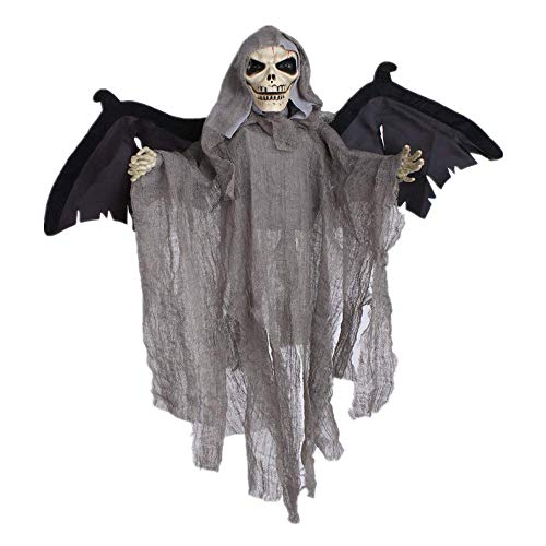 Wetietir Festival Mask Halloween Toy Hanging Ghost New Voice-Activated Goblin Bat Site Decorate Horror Bar KTV Haunted House Decoration Props,Black Costume Mask (Color : Gray) ()
