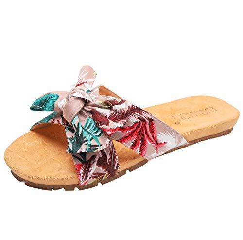 - iceen Women's Soft Bottom Flat Sandals with Bow tie Crisscross Band Home/Beach Slides Pink