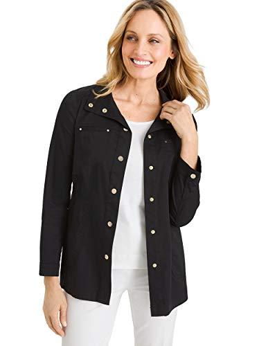 Chico's Women's Luxe Twill Utility Jacket Size 20/22 XXL (4) Black