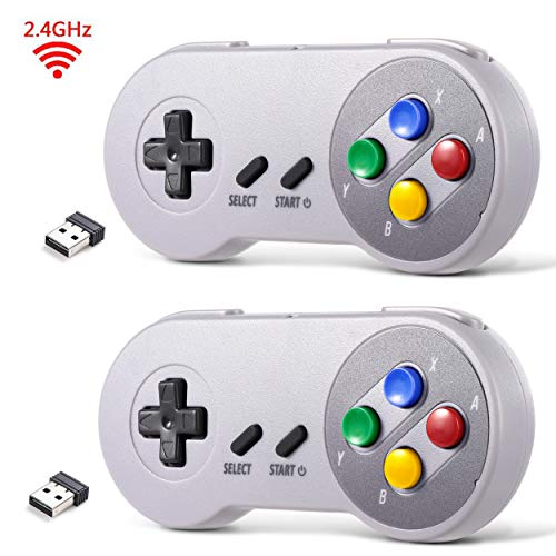 2 Pack 2.4 GHz Wireless USB Controller Compatible with Super Famicom Games, iNNEXT SNES Retro USB PC Super Classic Controller for Windows PC MAC Linux Genesis Raspberry Pi Retropie (Multicolored Keys)