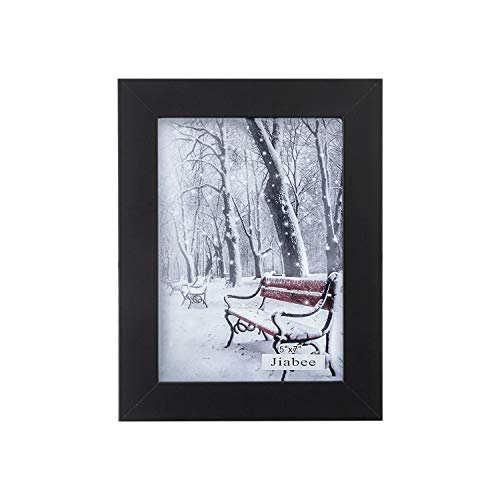 Jiabee 7x5 Wooden Picture Frame Stand & Hanging Couples Sets-1 Collage for Family, 1-Pack Wood Acrylic Photos Frames for Wall & Tabletop Black