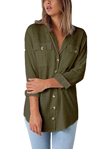 Chemise en Avant Femmes Manches Poche avec Une Verte Vrac Longues keephen Arme HIqz5xz