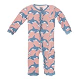 KicKee Pants Little Girls Fitted Ruffle Coverall, Blush Orca, 18-24 Months