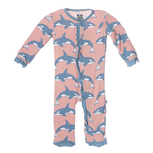 KicKee Pants Little Girls Fitted Ruffle Coverall, Blush Orca, 18-24 Months by Kickee Pants