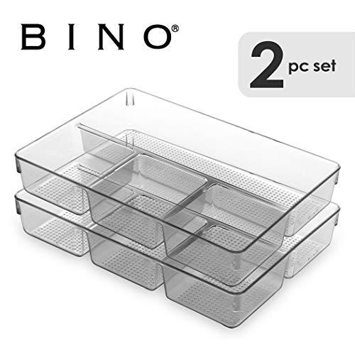 Four Section (BINO Multi-Purpose Plastic Drawer Organizer, 4- Section - 2 Pack)
