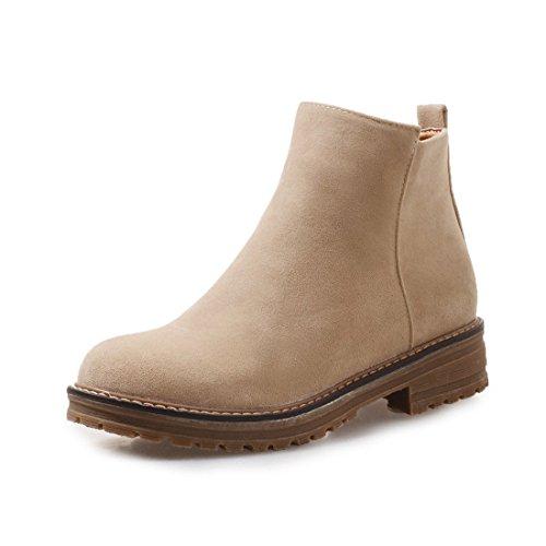 Sandalette-DEDE Cómodas Botas de tacón bajo y Botas de Mujer de Talla Grande con Botas de Tubo bajo con Cabeza Redonda. apricot