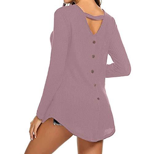 V Delle Solido Pullover Di Tasto Collo Colore Camicetta Parti Superiori A Donne Svago Rosa Della Del Camicia Alikeey nOPkX0w8